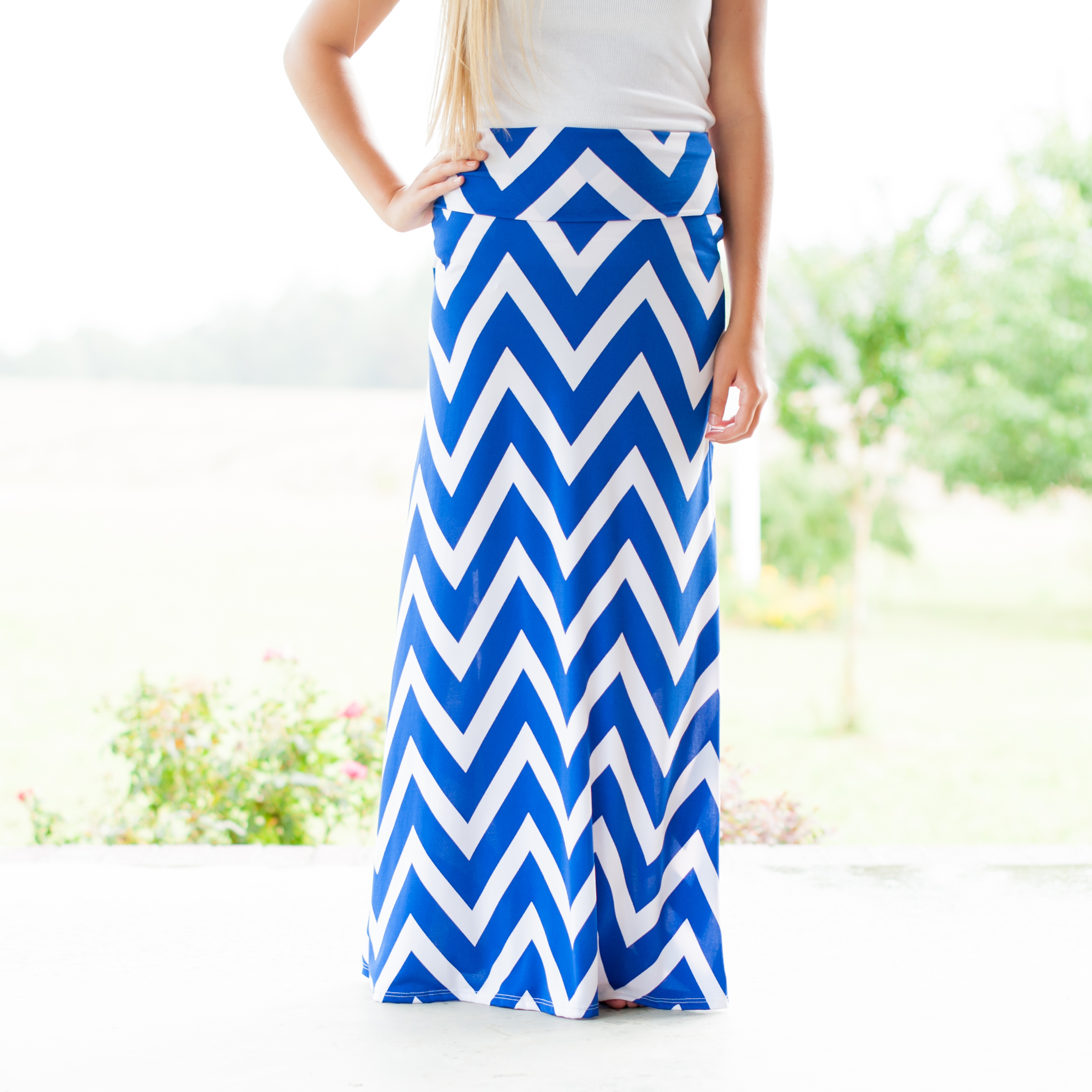 Chevron Maxi Skirt in Royal Blue - Lizzy's on 10th